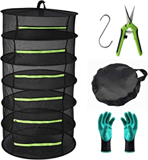 Seropy Herb Drying Rack 6 Layer Collapsible Mesh Hanging Drying Net with Zipper, 2ft Drying Rack with Garden Gloves, Pruni...
