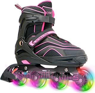 Otw-Cool Adjustable Inline Skates for Kids and Adults, Outdoor Blades Roller Skates with Full Light Up LED Wheels, Safe an...