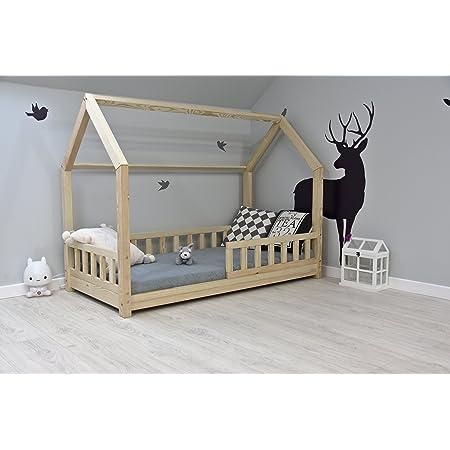 BEST FOR KIDS - Lit enfant Maison pour enfants avec protection anti-retombée Lit jeunesse Nature House Lit en bois avec ou sans matelas de 10 cm en 3 tailles (70x140 avec matelas)
