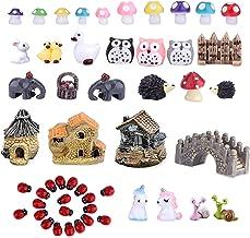TCJJ 51 Pieces Miniature Fairy Garden Accessories, Miniature Garden Houses and Figurines DIY Micro Landscape Ornaments for...