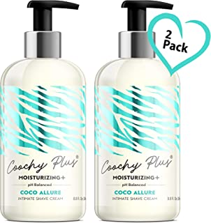Coochy Intimate Shaving Cream MOISTURIZING Plus COCO ALLURE For Pubic, Bikini Line, Armpit - Rash-Free With Patent-Pending Formula – Prevents Razor Burns & Bumps, In-Grown Hairs, Itchiness 2 Pack