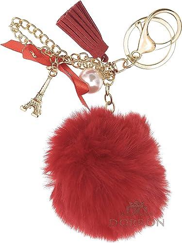 Soft Fluffy Faux Fur Pom Pom Tassel Pearl Eiffel Tower Keyring Keychain For Girls Ladies Bags Keys Red
