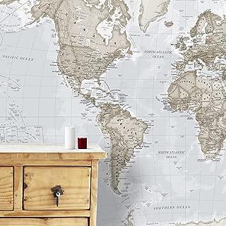 Maps International - Giant World Map Mural - Mega-Map Of The World Wallpaper - 91 x 62 - Neutral Colors
