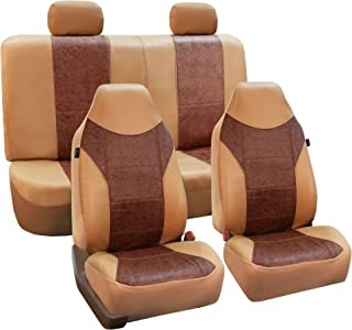 FH Group FH-PU160114 PU Classic Leather Seat Covers Brown/Beige, Airbag Compatible and Split Bench-Fit Most Car, Truck, SUV, or Van