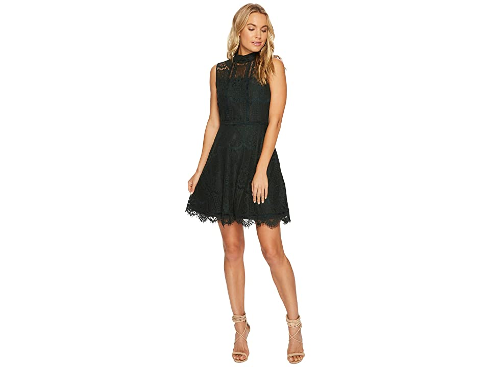 BB Dakota Reese Lace Fit Flare Dress (Forest Green) Women