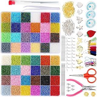 57600 قطعة خرز ملون، 48 قطعة متعددة الألوان مع صناديق بلاستيكية منفصلة، بما في ذلك حلقات قفزة مفتوحة ومقصات ودلايات مجوهرا...