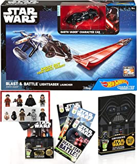 Hot Wheels Vader Box Character Car Star Wars Blast & Battle Launcher Bundled with Darth Reader Exclusive Book Set and Sticker Last Jedi Characters 2 Items