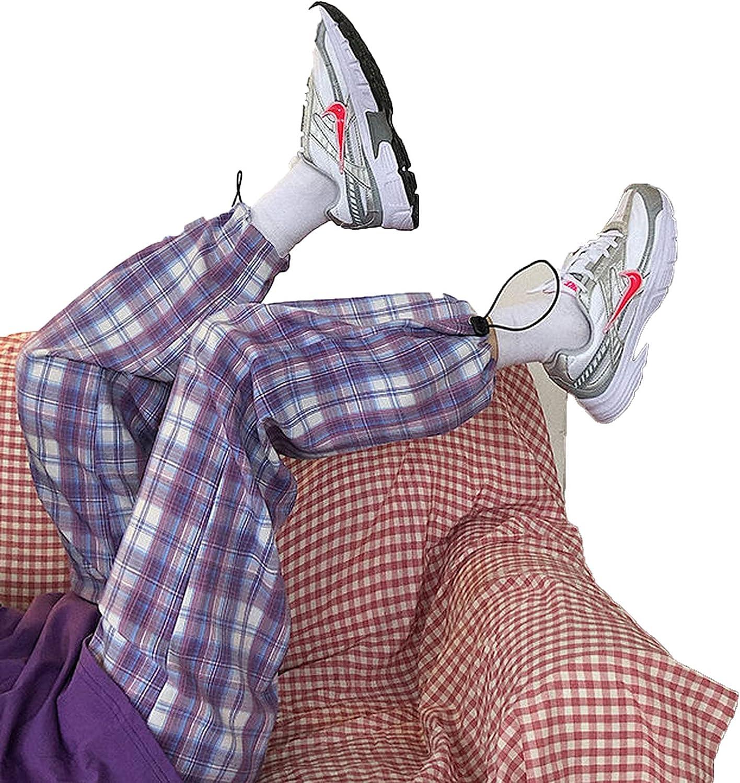 Vintage Women Plaid Pants Elastic Waist Pants Women high Harajuku Waist Plus Size Wide Leg Pants