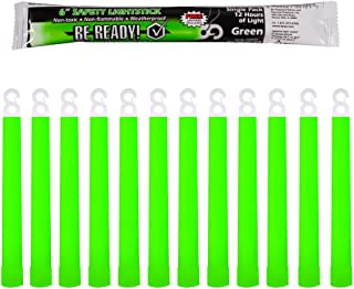 Be Ready Green Glow Sticks - Industrial Grade 12 Hour Illumination Emergency Safety Chemical Light Glow Sticks (12 Pack Gr...