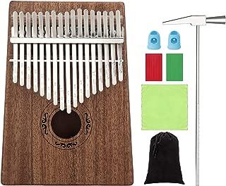 Kalimba 17 Keys Thumb Piano - Mahogany Tone Wood EQ Kalimba Electric Finger Thumb Piano African Instrument with Instruction Tune Hammer Musical Sticker - Perfect Christmas Gift