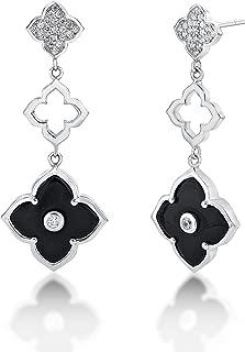 Sterling Silver Three Flower Drop Dangling Earrings