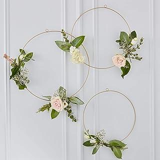Ginger Ray Guld Blommiga Hängande Hoops - Blommor - Guld Bröllop