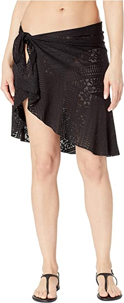 Ruffle Sarong Side Tie Skirt Cover-Up