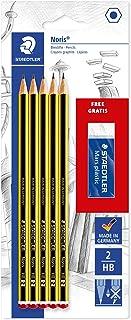 STAEDTLER 120 A SBKD Noris HB Pencil, Pack of 5 with Free Mars Plastic Eraser, black