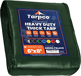 Tarpco Safety Extra Heavy Duty Tarp Cover, Waterproof, UV Resistant, Rip and Tear Proof, Poly Tarpaulin with Reinforced Ed...