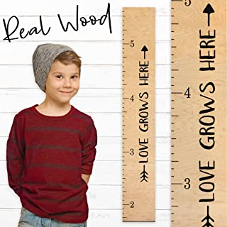 "Growth Chart Art | Wooden Height Chart Ruler Kids | Wall Growth Chart for Kids, Girls + Boys – ""Love Grows Here"" | Nursery Décor | Tribal Natural"