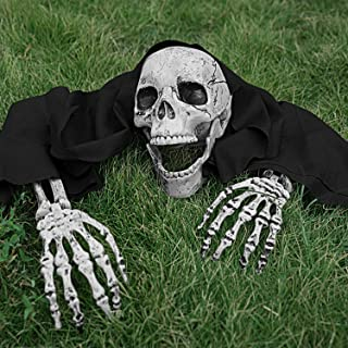 Flywind Realistic Skeleton Bones Skull Head and Hands Halloween Skeleton Decorations for Yard Lawn Stakes Garden Outdoor Halloween Decorations Scary Skull and Skeleton Arms Halloween Graveyard Décor