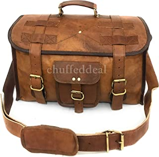 Chuffeddeal Brown Color Flap Duffel Genuine Leather Vintage Bag Retro Style Carry on Bag | Luggage Bag | Travel Bag | Duffel Bag | Gym Bag | Featured in Kabir Singh by Shahid Kapoor - 15 Inch