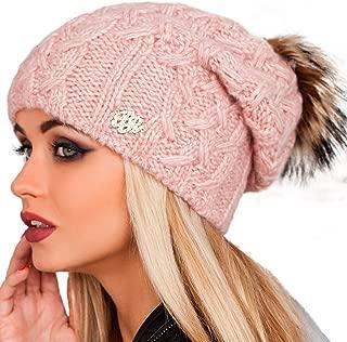 Braxton Knit Hat for Women - Fleece Fur Pom Beanie - Winter Merino Wool Ski Cap
