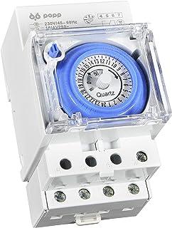 POPP® Electric temporizador reloj analogico SUL-181H 230 V 45 – 60 Hz 24 horas 35 mm DIN Rail (SUL-181H)