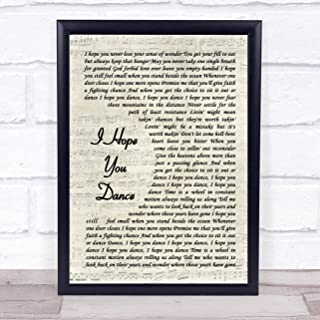 I Hope You Dance Song Lyric Vintage Script Quote Print