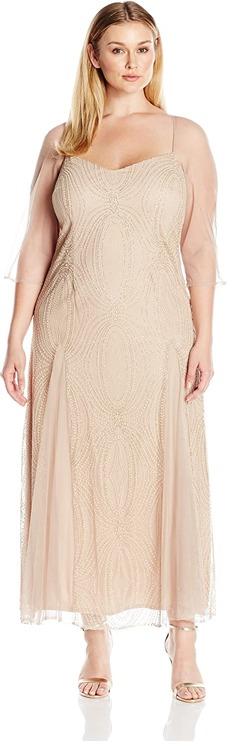 Brianna Womens Illusion Long Sleeve Long Beaded Fit and Flare Gown Dress