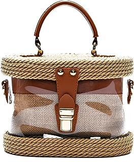 HANDMADE Handwoven Transparent Crossbody Straw Shoulder Bag/Handbag for Women with Shoulder Leather Strap