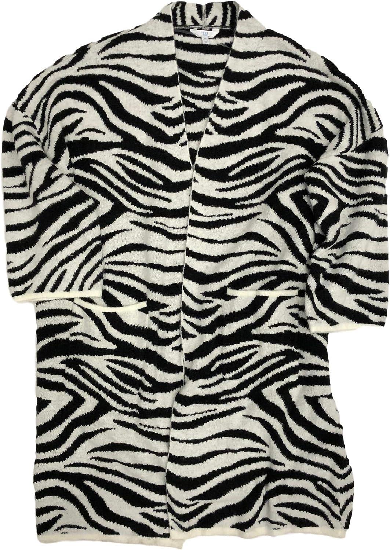 Womens Black & White Zebra Sweater Long Sweater Jacket Cardigan
