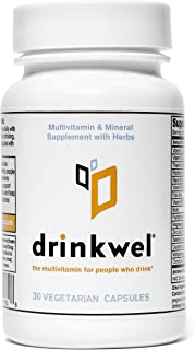 Drinkwel for Hangovers, Liver Support & Detox Multivitamin (30 Capsule)
