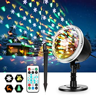 Christmas Projector Lights, Fostoy LED Xmas Decorations Laser Lights with Wireless Remote Control and 4 PCS Patterns, Perfect for Outdoor Indoor Halloween Xmas Birthday Party