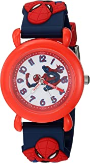 MARVEL Boys Spider-Man Analog-Quartz Watch with Plastic Strap, Blue, 16 (Model: WMA000161)