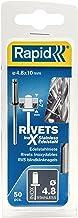 Rapid Blindklinknagels roestvrij staal Ø 4,8 mm, 4-7 mm klembereik, 50 stuks V2A klinknagels, set incl. boor, voor blindkl...