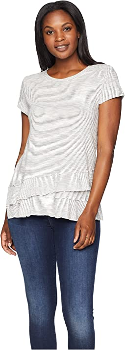 Slub Mini Stripe Asymmetrical Flounce Hem Top. Mod-o-doc. Slub Mini Stripe  Asymmetrical ...