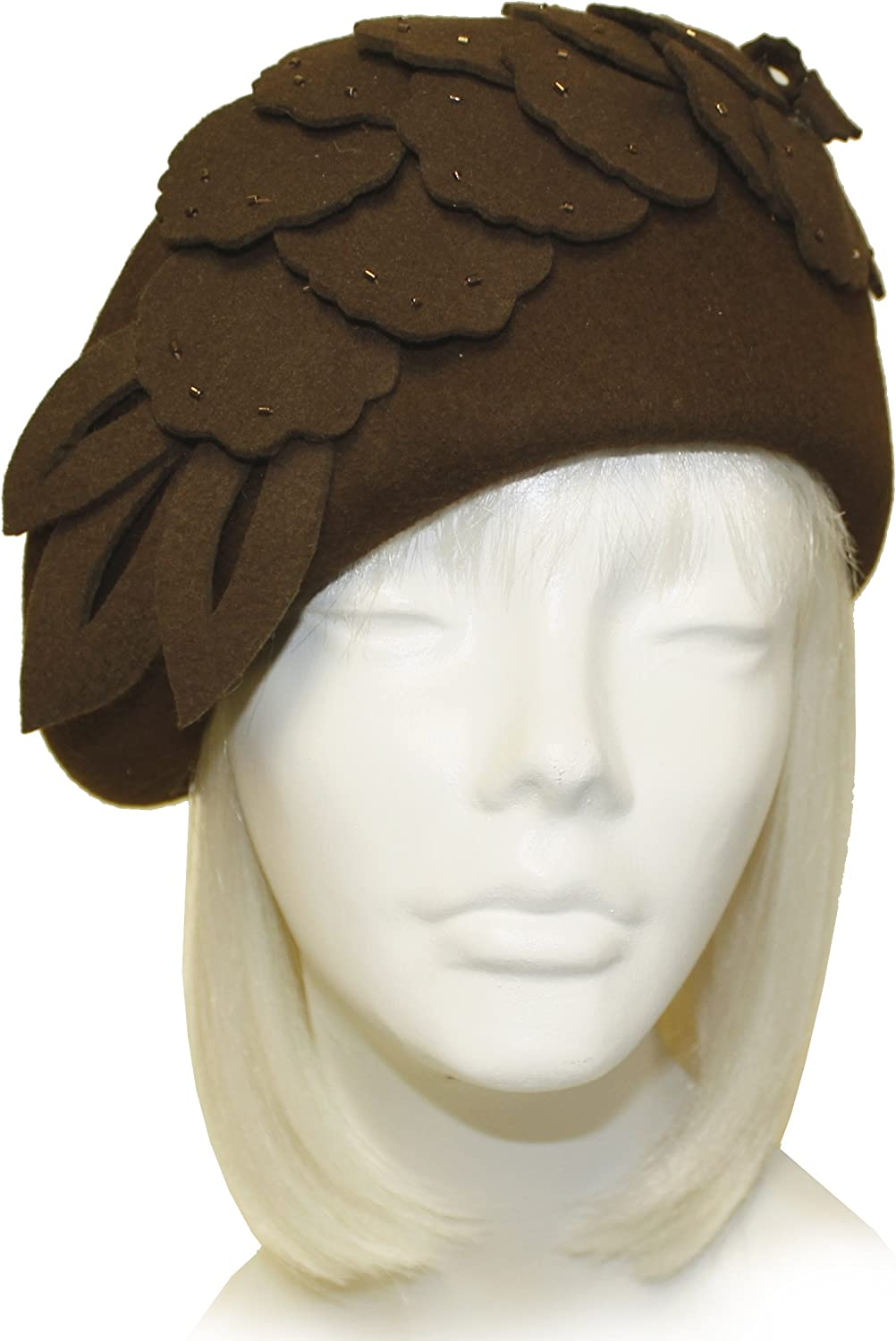Mr. Song Millinery Felt Cloche Hat With Floral Accent  Brown FH71
