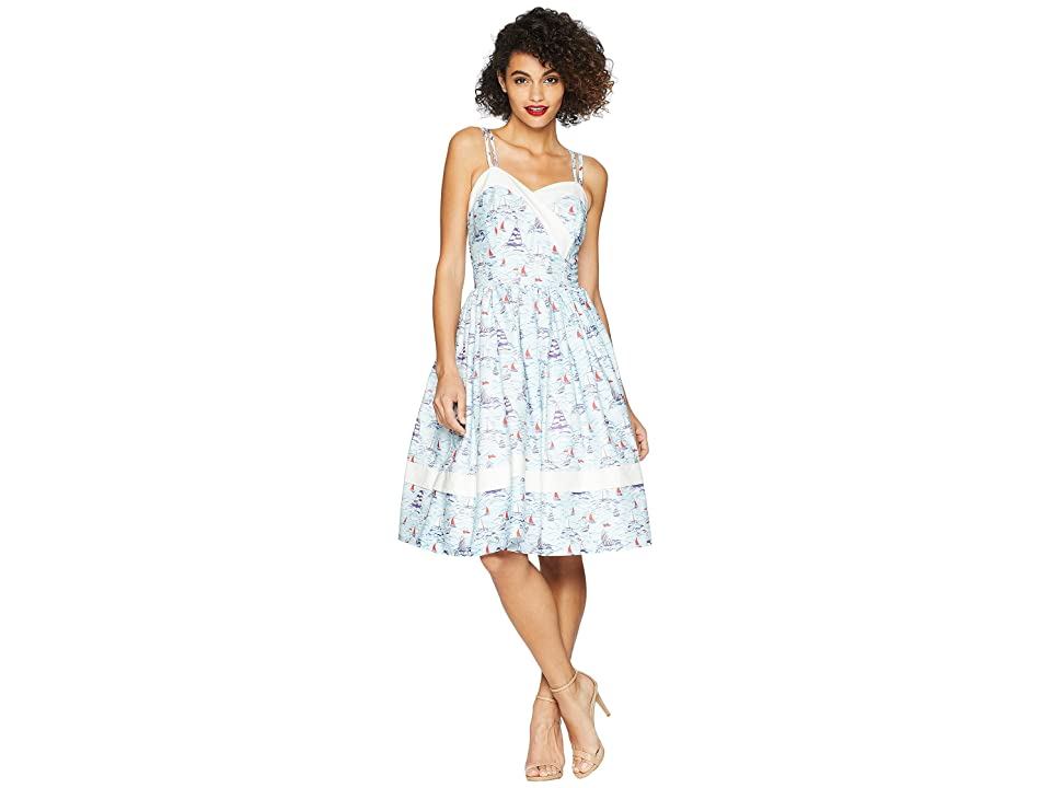 Unique Vintage Darienne Swing Dress (Light Blue/Sailboat Print) Women