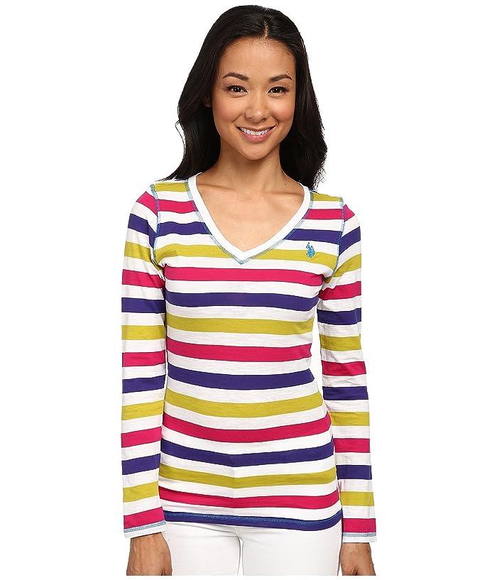 U.S. POLO ASSN. Long Sleeve Striped Slub V-Neck T-Shirt