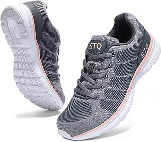 STQ أحذية المشي للنساء عارضة الرباط أعلى أحذية التنس الجري خفيفة الوزن, (رمادي زهري), 37 EU