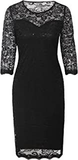 Vintage Black Sequin Lace Cocktail Flapper Dress with 3/4 Sleeves for Wedding Party