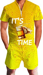 Mens 2019 New Designed Rompers 3D Fashion Print Short Sleeve Zip One Piece Summer Jumpsuit with Pocket S-XXL