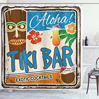 Ambesonne Tiki Bar Shower Curtain, Rusty Vintage Sign Aloha Exotic Cocktails and Coconut Drink Antique Nostalgic, Cloth Fabric Bathroom Decor Set with Hooks, 70