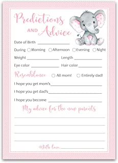 PINK ELEPHANT Prediction and Advice Cards - Pack of 25 - GIRL Baby Shower Games, New Parents, Mom & Dad to be Mommy & Dadd...