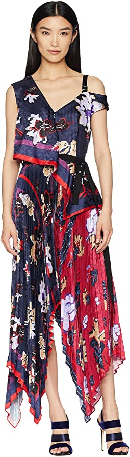 Pleated Handkerchief Scarf Print Dress