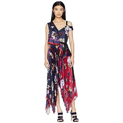 YIGAL AZROUEL Pleated Handkerchief Scarf Print Dress (Midnight Multi) Women