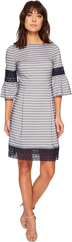 Ivanka Trump Lace Trim Bell Sleeve Novelty Stripe Dress