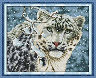 CaptainCrafts Hots Cross Stitch Kits Patterns Embroidery Kit - Snow Leopard (STAMPED)