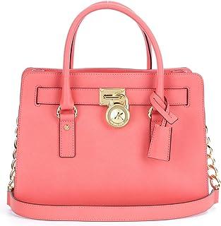 Michael Kors Women's Hamilton Saffiano Leather Satchel Leather Top-Handle Bag Tote