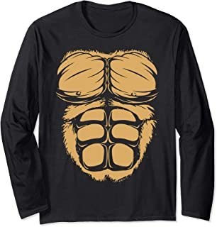 Gorilla Chest Muscles Abs Costume Halloween Easy Gift Long Sleeve T-Shirt