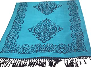 Ladies Damask Design Reversible Pashmina Feel Shawl Scarf Wrap Stole Luxuriously Warm Soft and Silky Touch