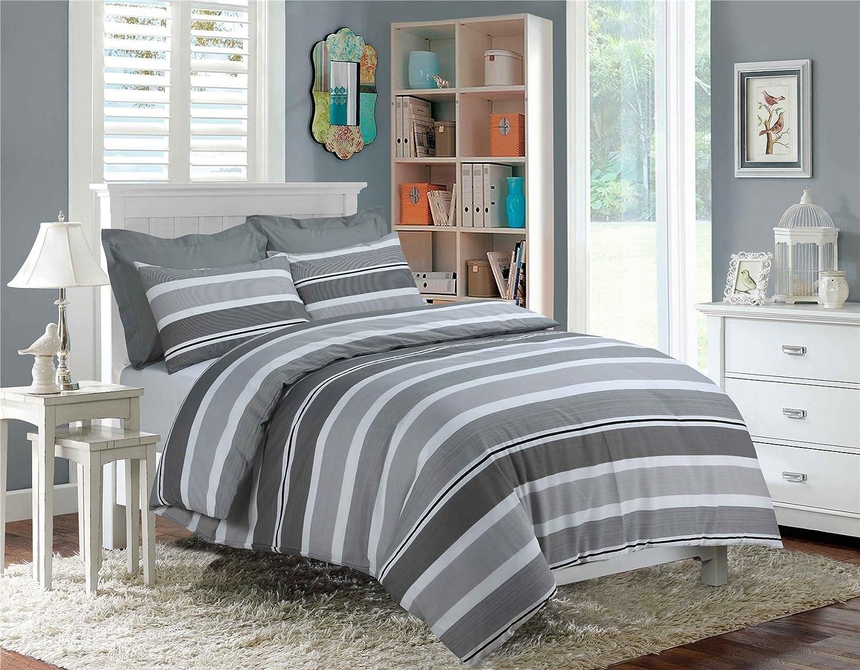 Rimi Hanger Beautiful Eiffle Dorney Texture Stripe Print Single Double King Size Luxury Duvet Pillow Cover Bed Set Imperial Stripe Grey Double Size