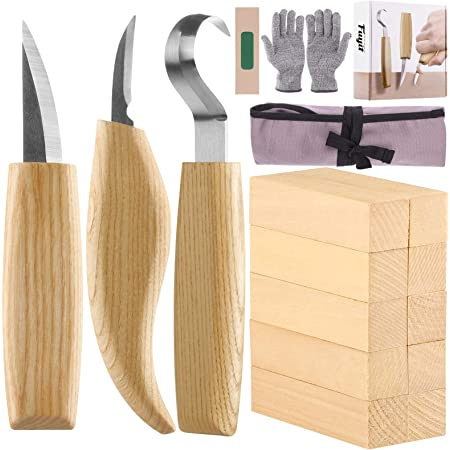 Fuyit 17 Pièces Outils de Sculpture sur Bois avec Couteau à Crochet, Couteau à Tailler, Couteau de Détail, Gants Résistants et Blocs de Bois 10 Pièces